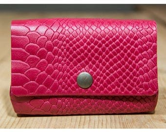 Leather wallet red snake, great effect pattern