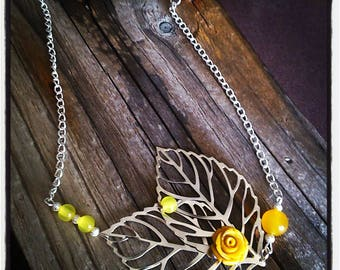 HeadBand nature headband filigree silver leaves and yellow flower cabochon