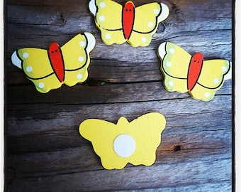 set of 4 Butterfly 35mm yellow wood