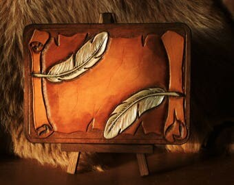 "Birthday card or mini greeting table tooled leather ""feathers on parchment trompe l'oeil"""