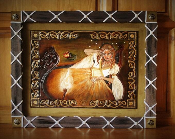 Tableau sur cuir Décoration d'intérieur médiéval antique celtique Fantasy préraphaélite Lady of shalott