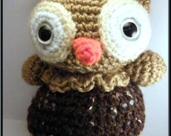 Amigurumi little OWL Brown and beige crocheted acrylic yarn.