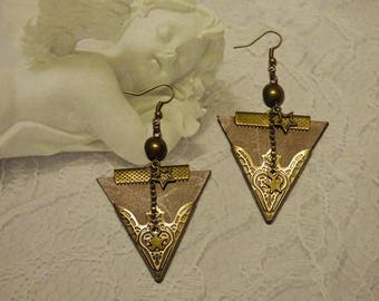 PRETTY EARRINGS BROWN LEATHER VINTAGE STYLE