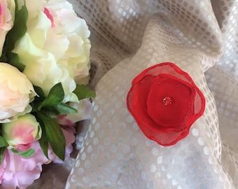 Flower 5 cm red chiffon with Rhinestone