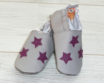 Slippers size 23 gray violet stars