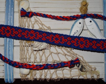 """Friendship Bracelet """"Cheerful"""" red and blue"""