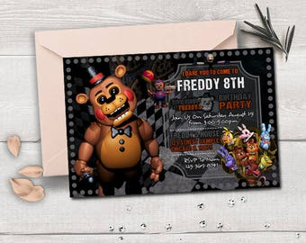 Five Nights at Freddy's birthday, five nights at freddy's invitation, five nights at freddy's birthday invitation, five nights at freddy's