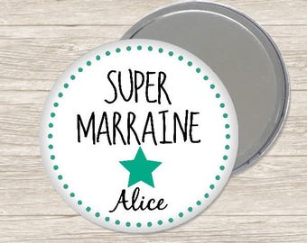 Mirror personalized godmother 7.5 cm / name