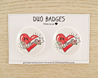 "Duo witness 3.8 cm badges / ""Tattoo"""