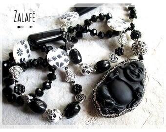 Long boho chic necklace, bouddha necklace, gemstone necklace, black necklace, zen necklace, tibetan silver necklace, hippie necklace