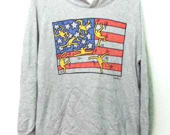 Vintage Keith Haring Sweatshirt Pullover Jumper Sweater Pop Art Design Hip Hop Hoodie
