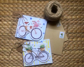 Set of Two Bike Handmade Greeting cards, Bicycle flower design, Birthday, Anniversary 3D card, Card for girlfriend, Blank paper card, Violet