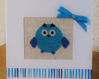Hand embroidered card: Blue OWL