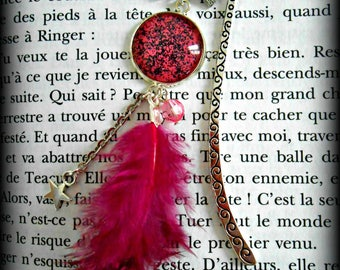 Bookmark feather and pink cabochon