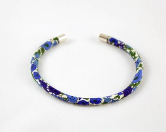 Blue Petal and Bud Liberty Bangle Bracelet
