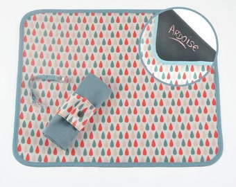 Set of pink, coral, children meal bluish gray and drops