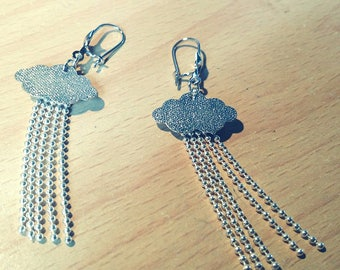 Silver cloud and chain earrings
