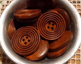 5 buttons round dark wood stripped pattern