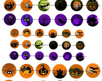 """Digital images """"Halloween No. 1"""" round 18-25 and 30mm"""