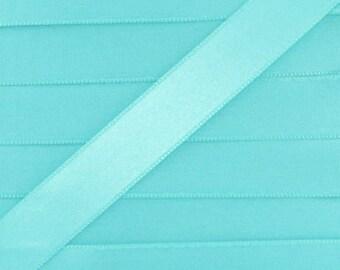 Satin ribbon / blue LAGOON / width 10mm, 50cm cut