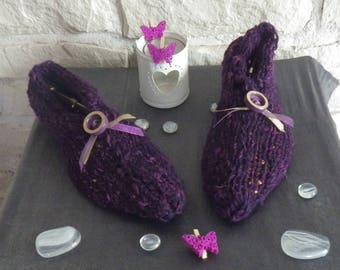 Slippers adult woman 37/39 knitted purple gradient
