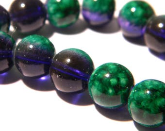 20 glass beads 10 mm - translucent 2 tones-green-purple glass - F194 3 bead