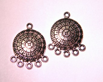 10 pendant connector - pattern inca-27 mm-silver - PF157 print