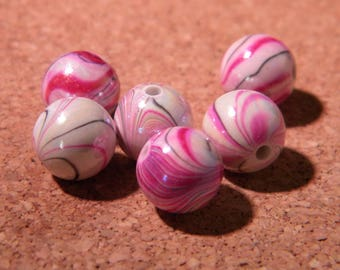 10 iridescent pearls wave 10 mm - tones colors - purple-PE 296-4