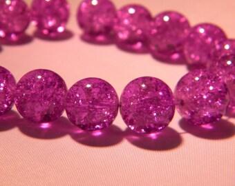 10 purple glass beads Crackle 12mm translucent - purple-PE262-4
