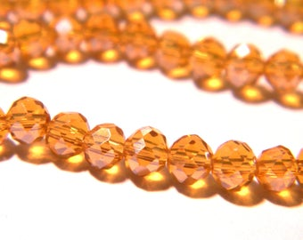 """75 glass beads - 4 x 3 mm - faceted - glass """"Crystal"""" bead abacus - pale amber - G144-9"""