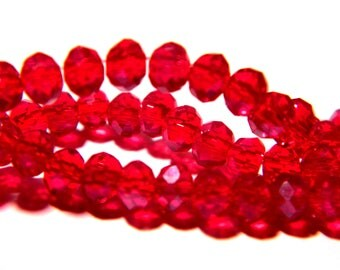 """75 glass beads - 4 x 3 mm - faceted - glass """"Crystal"""" bead abacus - Ruby Red - G144-10"""