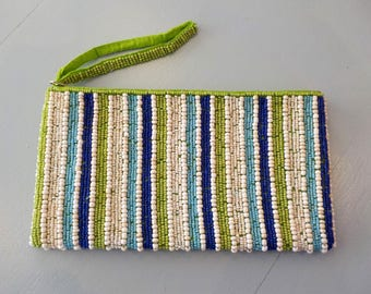 Clutch blue, green seed beads