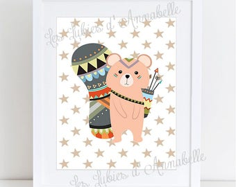 A4 poster for Beaver Indian or Tribal nursery