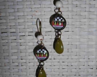 Geometric, ethnic cabochon earrings Bronze