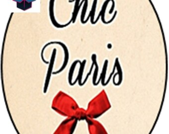 1 cabochon clear 10 x 14 mm chic Paris theme