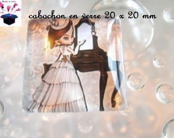 1 cabochon clear square 20 x 20 mm theme miss year 1900