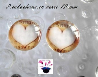 2 glass cabochons 12 mm for loop heart theme