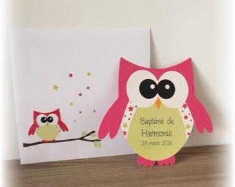 Invitation form OWL fuchsia and green - stars