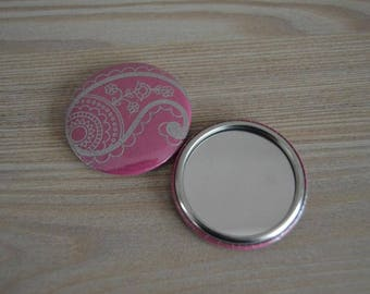 Raspberry and silver mirror design 50 mm