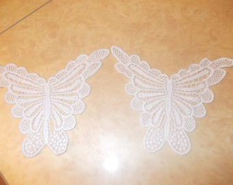 Set of 4 Butterfly appliques sewing lace crochet white 20 x 12 cms
