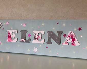 Light canvas child's name with fairy - name wood - children's room decoration - Elena - table light pink and purple - wood letter