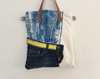Tote bag blue and white double sided linen, denim, leather and painted cotton