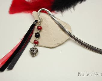 Heart bookmark and coral stones, Obsidian