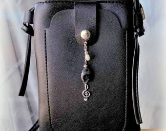Bag black faux leather - 18 X 14 X 1.5 cm - with gemstones charm.