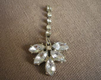 Pendant flower 5 petals with crystals and rhinestones