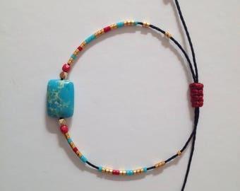 Bracelet cordon noir réglable, pierre Jaspe turquoise, et Miyuki