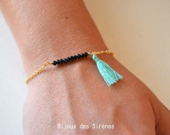 Bracelet gold plated and black Crystal beads