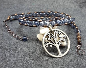 Leather & Glass Tree Pendant Necklace