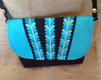 Turquoise and Navy canvas shoulder bag, lace leaves embroidered.
