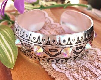 Metal Bangle Bracelet with AB crystals